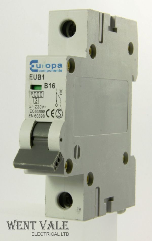 Europa Components - EUB1 - 16a Type B Single Pole MCB Used
